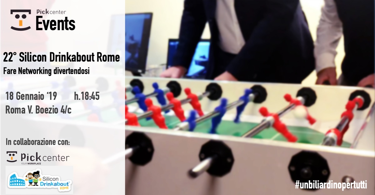 Silicon DrinkAbout Rome 18 gennaio in Bside Coworking